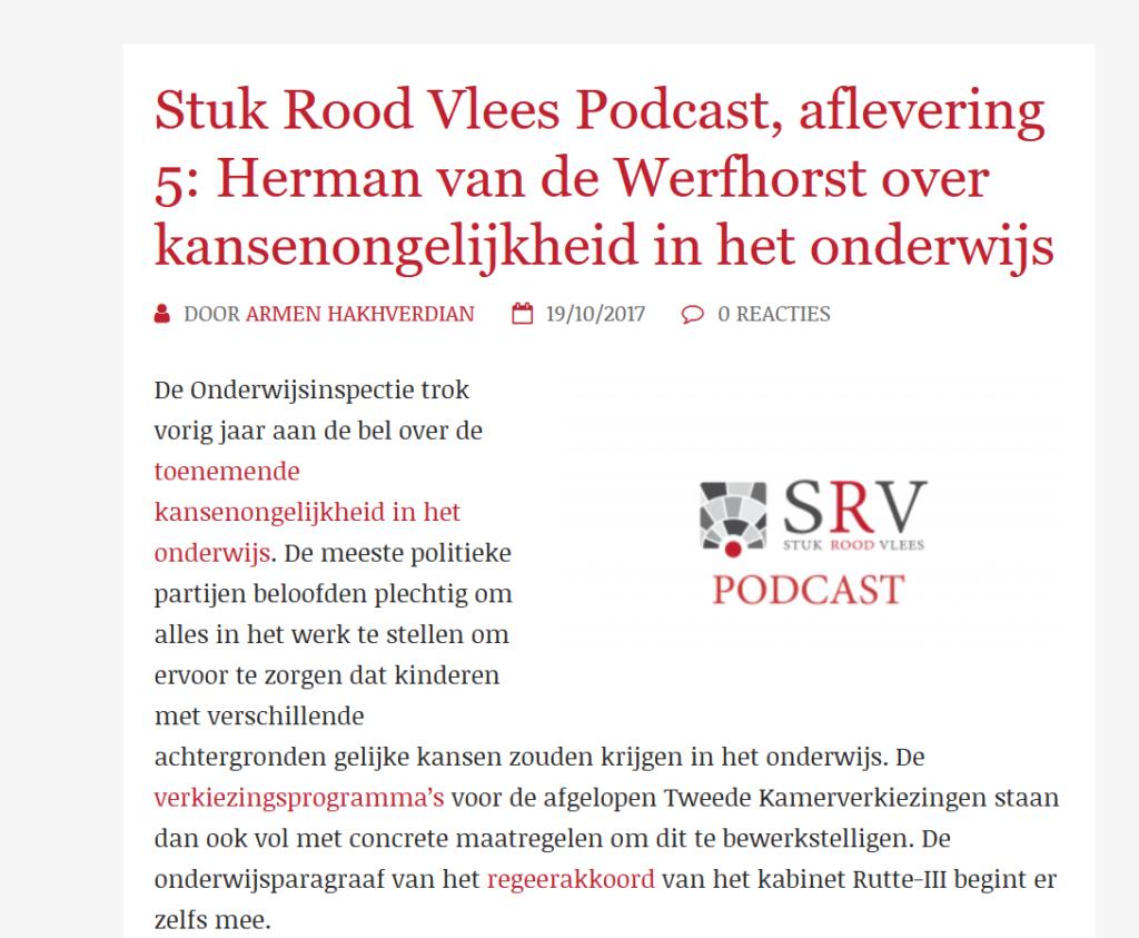 Herman van de Werfhorst over kansenongelijkheid in het onderwijs