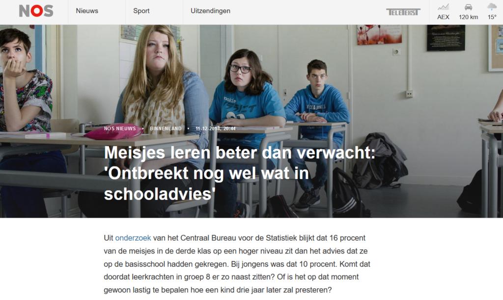 Meisjes leren beter dan verwacht: 'Ontbreekt nog wel wat in schooladvies'