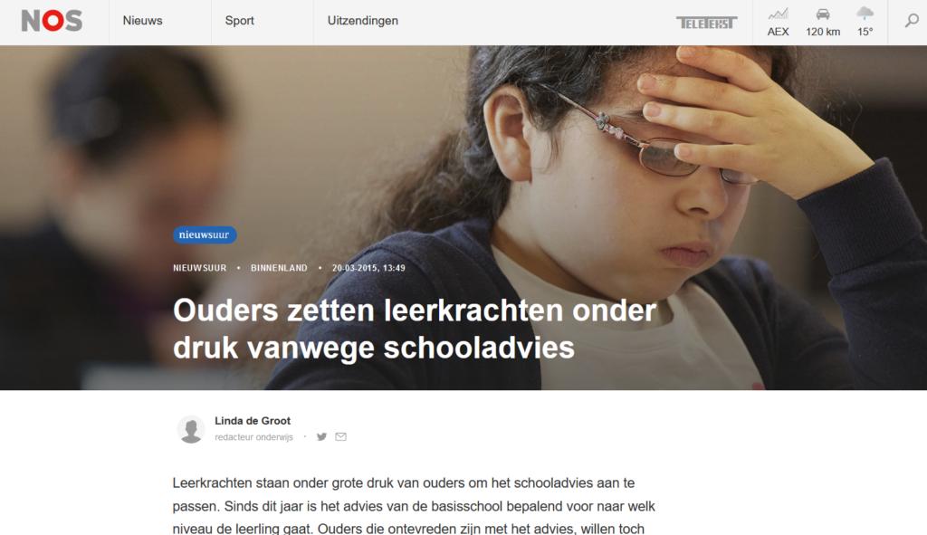 Ouders zetten leerkrachten onder druk vanwege schooladvies