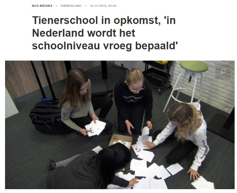 Tienerschool in opkomst, 'in Nederland wordt het schoolniveau vroeg bepaald'