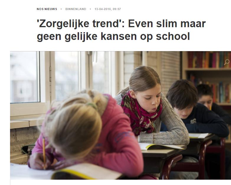 'Zorgelijke trend': Even slim maar geen gelijke kansen op school